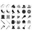 vikings and attributes blackmonochrome icons in vector image