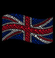 waving great britain flag pattern of hammer icons vector image