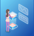 woman dealing with infographics and charts vector image vector image
