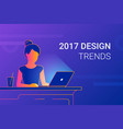 young woman working with laptop at work desk vector image