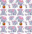 Seamless background with gray elephants vector image