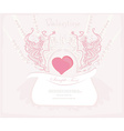abstract floral heart frame invitation card vector image