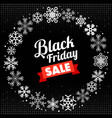 black friday with snowflake frame vector image