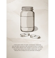 Blank medicine bottle and pills Vintage Label vector image vector image
