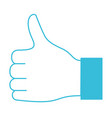 blue color silhouette of left hand thumb up vector image