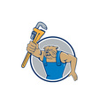 Bulldog Plumber Monkey Wrench Circle Cartoon vector image vector image