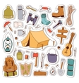 Camping stickers in hand drawn style vector image vector image