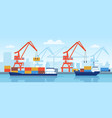 cargo ship in port delivery maritime transport vector image vector image