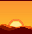 cartoon desert landscape at sunset vector image