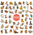 cartoon dog characters large set vector image