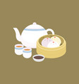 chinese dim sum steamed bun in basket vector image