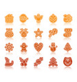 christmas gingerbread silhouette icons set vector image
