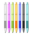 colored pens isolated set in realistic style vector image