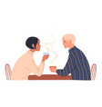 couple young people sitting in a cafe vector image