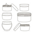 cream jar set vector image vector image