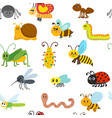 cute cartoon seamless pattern with insects vector image vector image