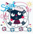 cute sailor cat cartoon vector image vector image