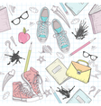 Cute school abstract seamless pattern vector image vector image