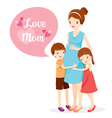 Daughter And Son Hugging Pregnant Mother vector image vector image