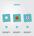 flat icons basket golf ball and other vector image