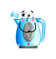 funny electric kettle isolated cartoon character vector image vector image
