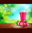 glass cup with juice of cranberries standing on a vector image vector image