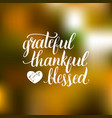 grateful thankful blessed lettering on vector image vector image