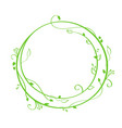 green hand drawn calligraphic round spring vector image vector image