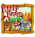 happy easter card template with bunny in the farm vector image vector image
