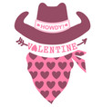 happy valentines day country farm with cowboy hat vector image vector image