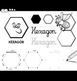 hexagon basic geometric shapes coloring page vector image vector image