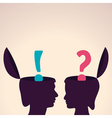 Human head with question and exclamatory mark vector image vector image
