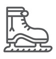 ice skate line icon christmas and new year vector image vector image