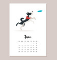 june dog 2018 year calendar vector image vector image