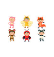 kids in carnival costumes set cute little boys vector image vector image