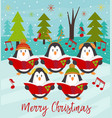 merry christmas card with choir penguins vector image vector image