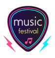 neon music festival guitar pick background vector image vector image