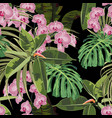 pattern background with exotic pink orchid flower vector image vector image