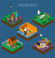 people with pets composition set vector image vector image