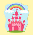 Pink princess castle rainbow fairy tale