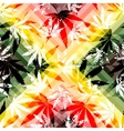 Rastafarian colors pattern and grunge hemp leaves vector image vector image