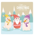 Santa and snowman on a cheerful holiday card vector image