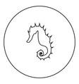 seahorse icon black color in circle vector image vector image