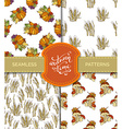 set of seamless autumn patterns vector image