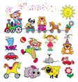 set simple pictures with toys vector image vector image