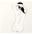 sketch of naked woman Back view vector image vector image