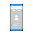 social media app smartphone interface template vector image