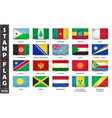 stamp with official country flag set 11 12 vector image
