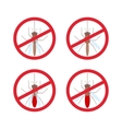 stop mosquito sign in red circle vector image