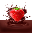 Strawberry heart with chocolate vector image